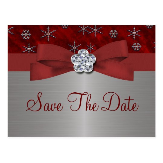 Red Velour & Silver Snowflakes Save The Date Postcard