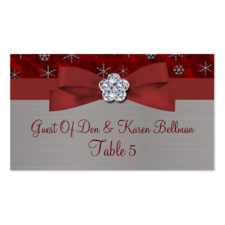 Red Velour & Silver Snowflakes Table Business Card