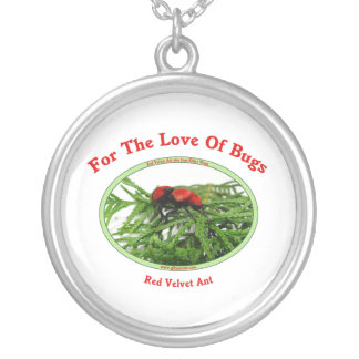 Red Velvet Ant Love Bugs Round Pendant Necklace