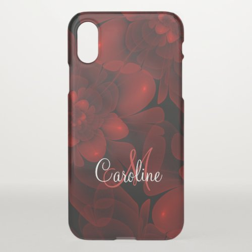 Red Velvet Bloom Monogram iPhone X Case