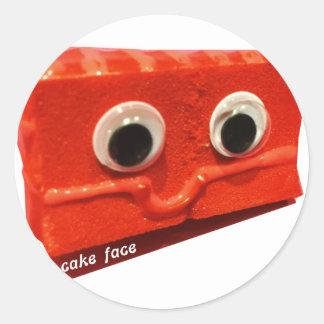 red velvet cake face w logo classic round sticker