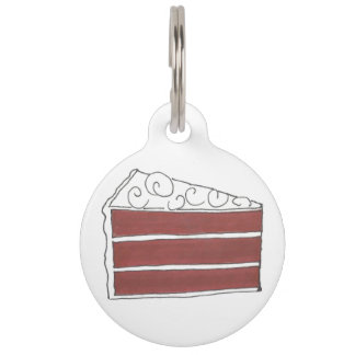 Red Velvet Cake Slice Cream Cheese Frosting Pastry Pet Name Tag