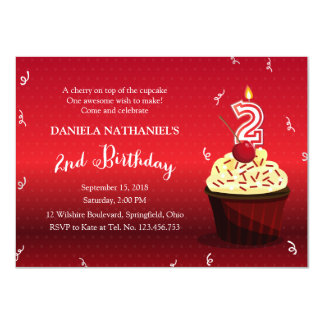 Red Velvet Cupcake 2nd Birthday Party 4.5x6.25 Paper Invitation Card