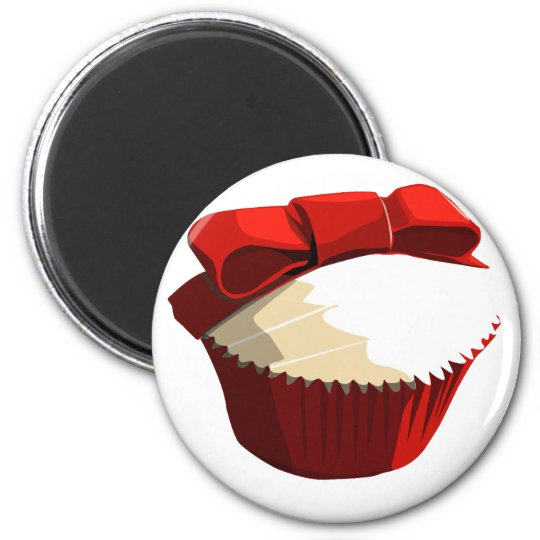 Red velvet cupcake template products magnet