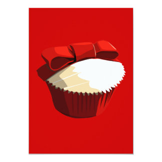 Red velvet cupcake with bow invitation