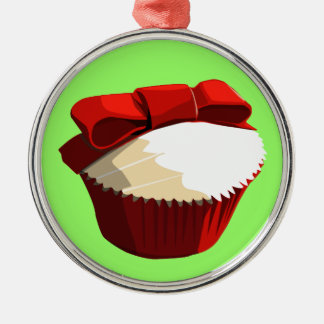 Red velvet cupcake with bow ornament