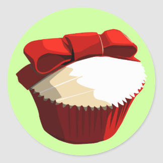 Red velvet cupcake with bow recipe stickers