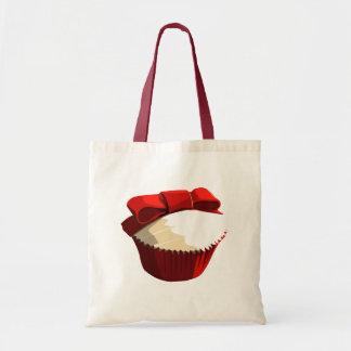 Red velvet cupcake with bow tote bag