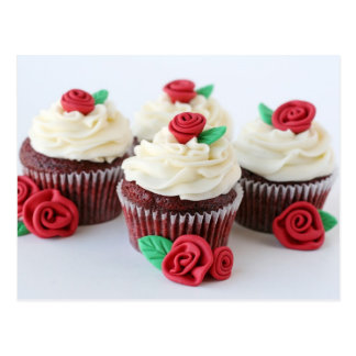 Red Velvet Cupcakes With Red Rose Decorations Postcard