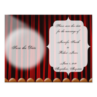 Red Velvet Curtain Stage Wedding Save the Date Custom Invitations