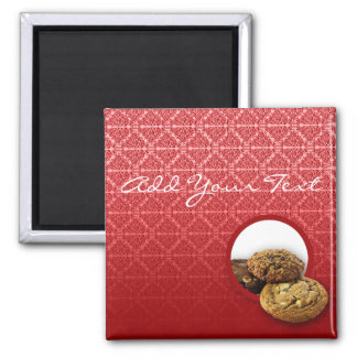 Red Velvet Damask Desserts Business Magnet