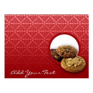 Red Velvet Damask Desserts Business Postcard
