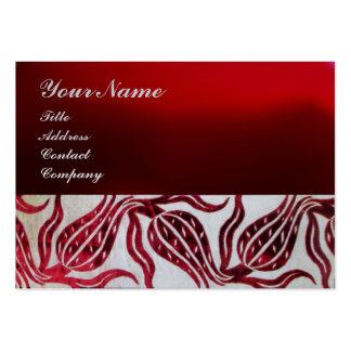 RED VELVET DAMASK TULIP MONOGRAM Burgundy Platinum Business Card