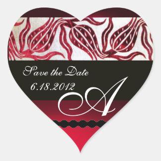 RED VELVET DAMASK TULIPS MONOGRAM Burgundy White Heart Sticker