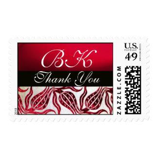 RED VELVET DAMASK TULIPS MONOGRAM Burgundy White Postage Stamp