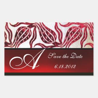 RED VELVET DAMASK TULIPS MONOGRAM Burgundy White Rectangular Sticker
