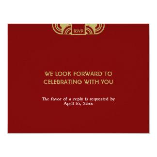 Red velvet deco wedding enclosure RSVP response Personalized Invite