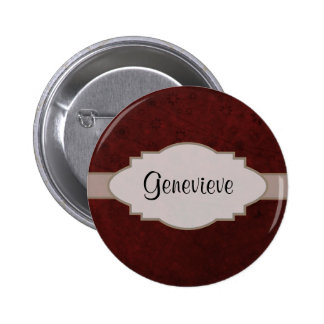 Red Velvet Retro Floral Abstract Nameplate Pins