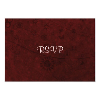"""Red Velvet Retro Flowers and Butterflies Abstract 3.5"""" X 5"""" Invitation Card"""