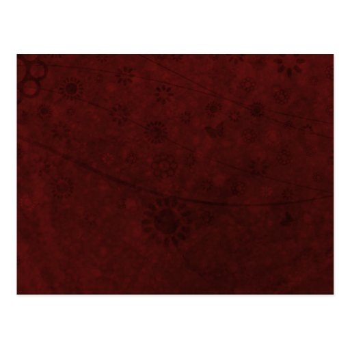 Red Velvet Retro Flowers and Butterflies Abstract Postcard