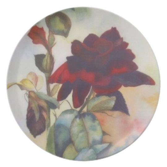 Red Velvet Rose Melamine Plate