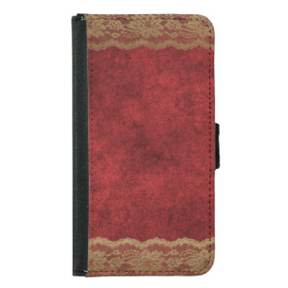 Red Velvet Taupe Tan Lace Plush Wallet Phone Case For Samsung Galaxy S5