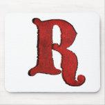 Red Velvet Vampire Font Initial Mouse Pads.