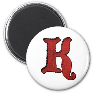 Red Velvet Vampire Font Initialed Magnets. 2 Inch Round Magnet