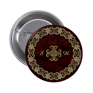 Red Velvet With Golden Ornament Pinback Button