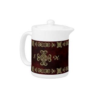 Red Velvet With Golden Ornament Teapot