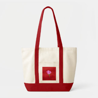 Red Velvet with Pink Rose Tote Bag