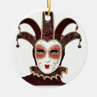 Red Venetian Carnivale Mask Ceramic Ornament