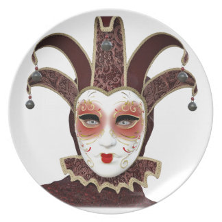 Red Venetian Carnivale Mask Plate
