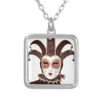 Red Venetian Carnivale Mask Silver Plated Necklace