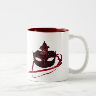 Red Venetian Mask - Two-Tone Mug