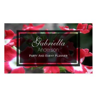 Red Verbena Flower Business Cards