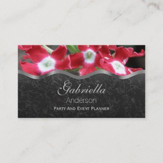 Red Verbena on Black Business Cards