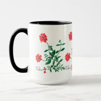 Red Verbena with Black Inside Mug