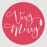 Red Verry Merry Christmas Classic Round Sticker