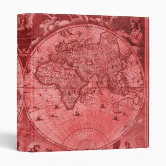 Red Version Antique World Map J Blaeu 1664 Vinyl Binder