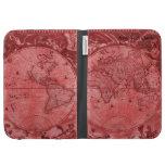 Red Version Antique World Map J Blaeu 1664 Kindle 3 Case