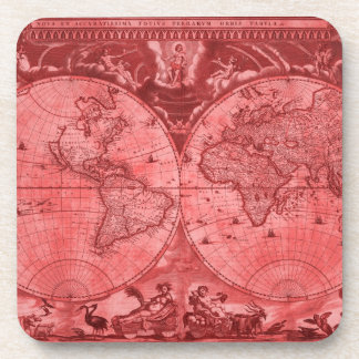 Red Version Antique World Map J Blaeu 1664 Coasters