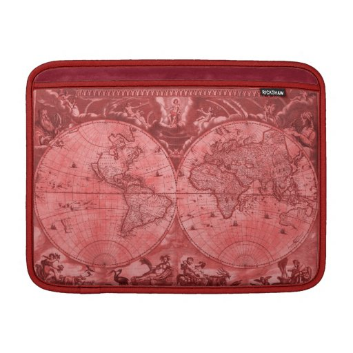 Red Version Antique World Map J Blaeu 1664 Sleeve For MacBook Air
