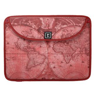 Red Version Antique World Map J Blaeu 1664 Sleeve For MacBook Pro