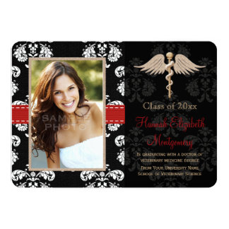"Red Veterinary Vet School Graduation Announcement 5"" X 7"" Invitation Card"