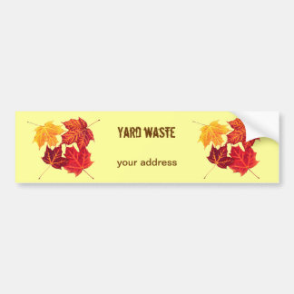 red vibrant maple leaves - yard waste bumper sticker