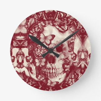Red Victorian gothic lace skull Round Wallclock