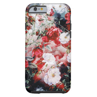 Red Victorian Roses Floral White Black Tough iPhone 6 Case