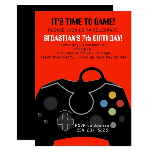 Red Video Game Boys Birthday Invitation