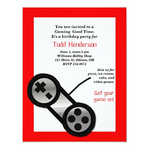 Red Video Gaming Party Invitation | Zazzle